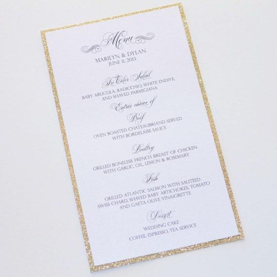 Marilyn Glitter Menu Card Wedding Menus Elegant Menu Cards Wedding Reception Stationery Gold Glitter White Sample
