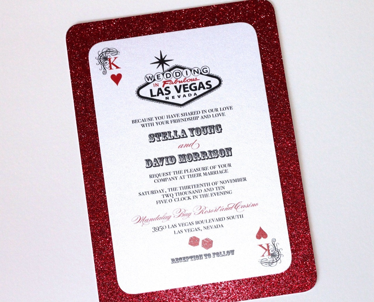 Stella Las Vegas Glitter Wedding Invitation Casino | Etsy