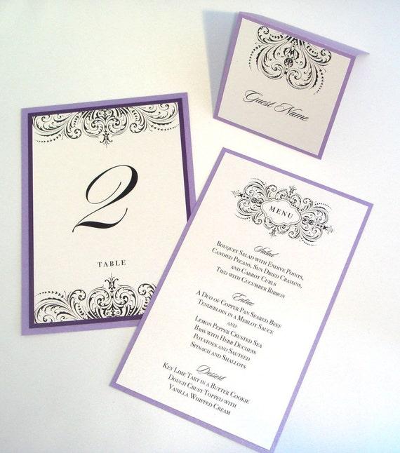 Scroll Wedding Invitations Australia: Thalia Scroll Wedding Reception Items Menu Table Number