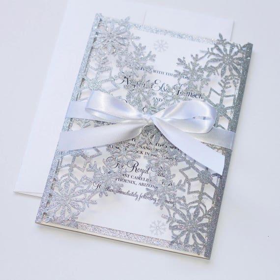 winter wedding invitation snowflake invitation elegant etsy
