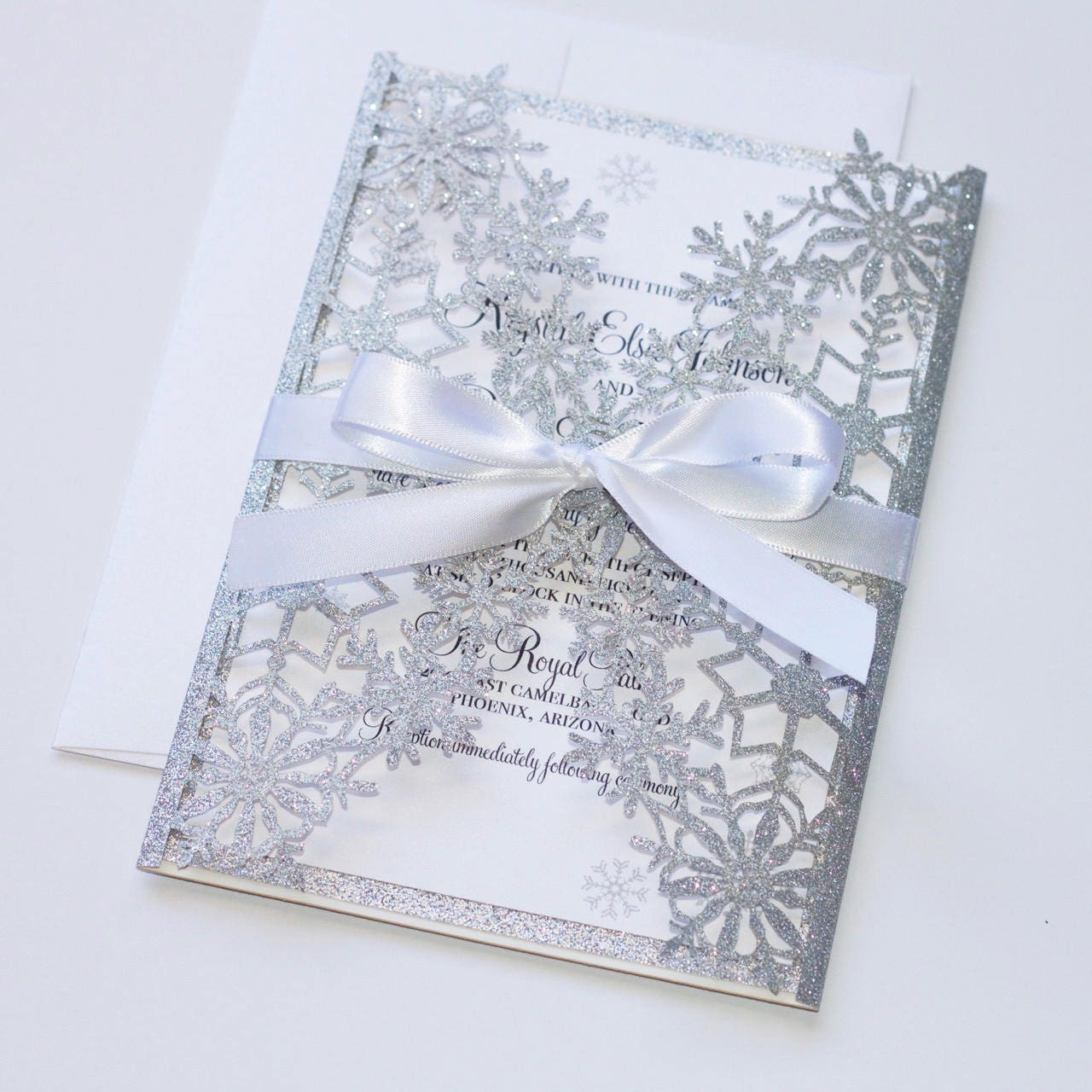 Winter Wedding Invitation Snowflake Invitation Elegant