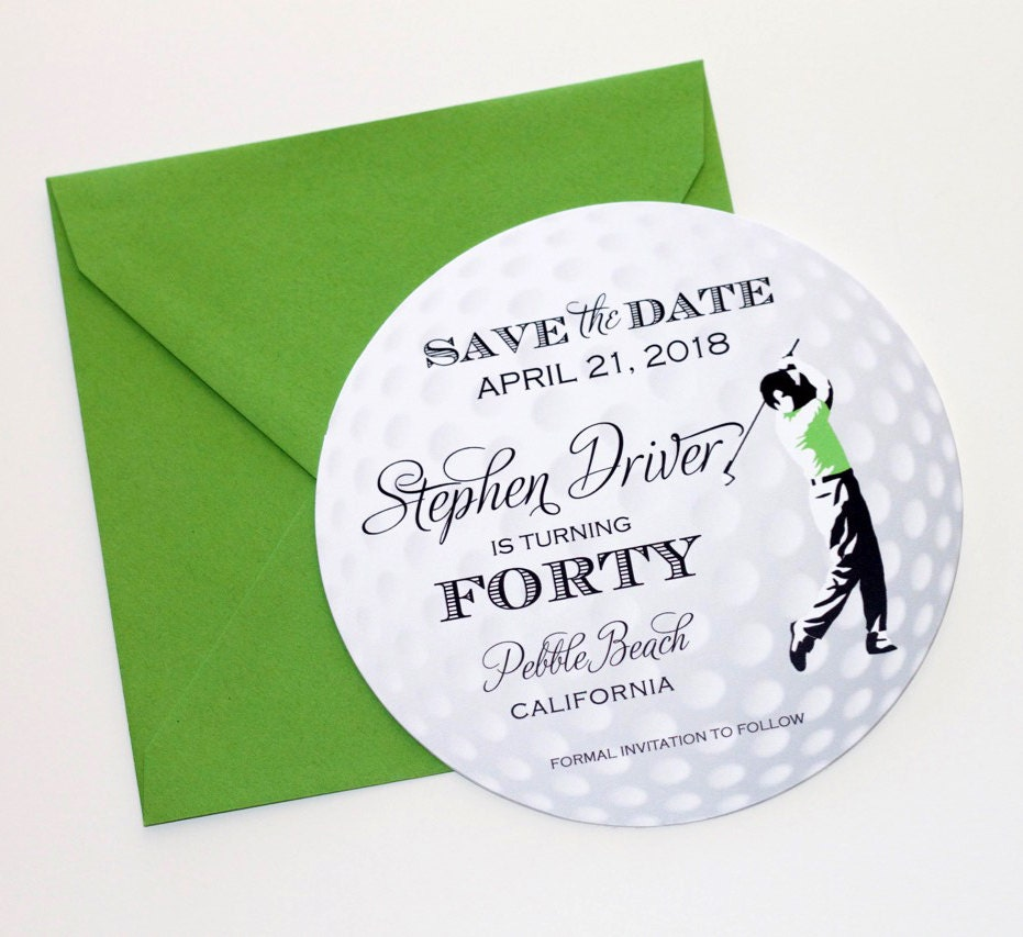 Golf Ball Save The Date Card Invitation Themed