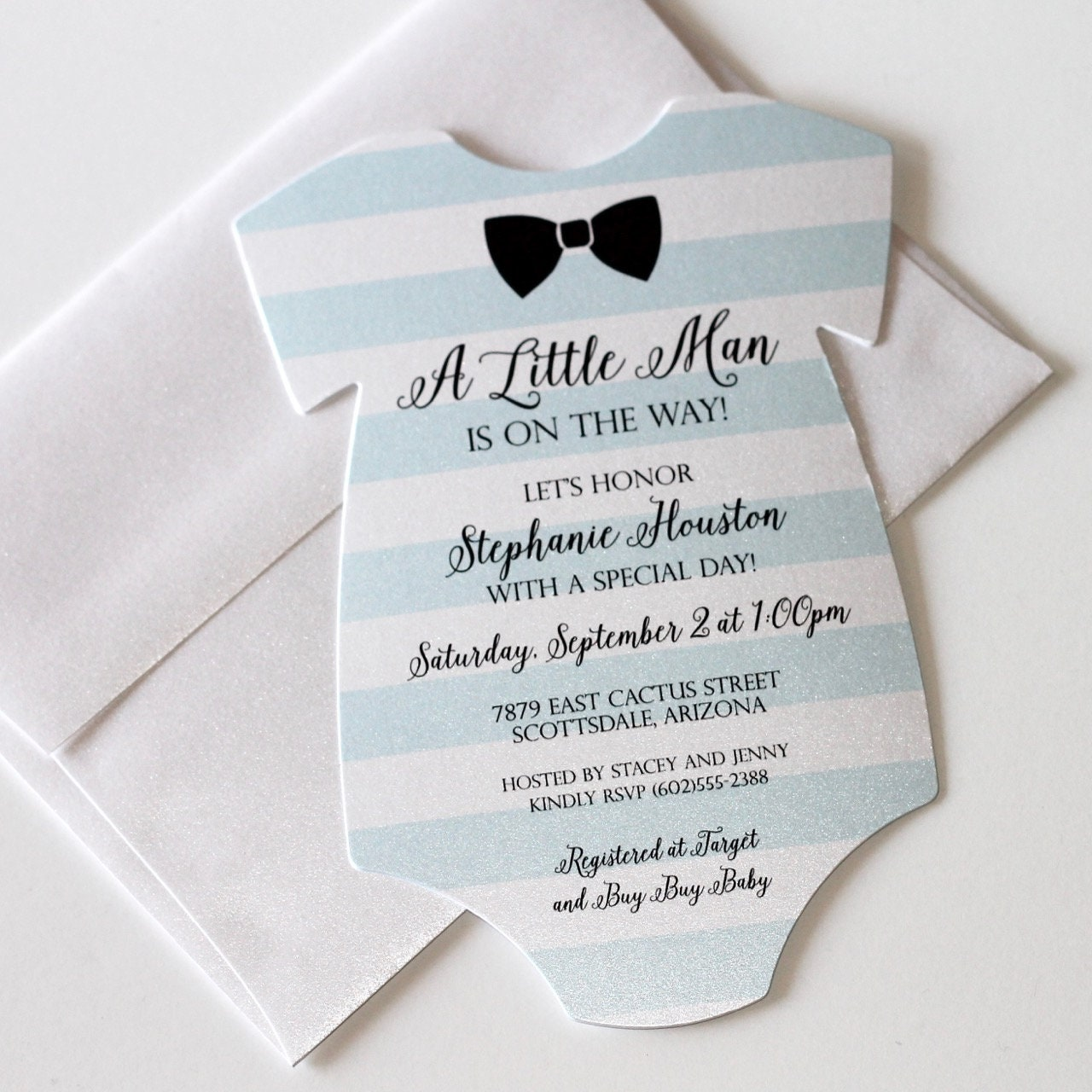 Baby Shower Onesie Invitation Blue Shower Invitation Baby   Etsy