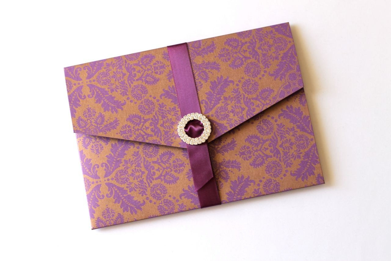 Purple And Gold Wedding Invitations: Ginger Damask Wedding Invitation Purple And Gold Wedding