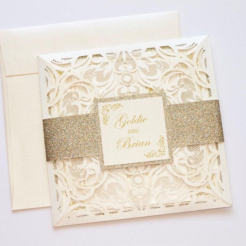 3deccf833f12 Inviti matrimonio pizzo avorio Elegante matrimonio invito