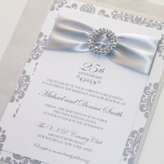 25th Wedding Anniversary Invitation Embellished Wedding Etsy