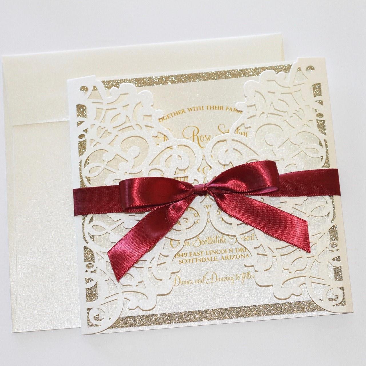 Lace Wedding Invitation Elegant Wedding Invite Laser Cut | Etsy