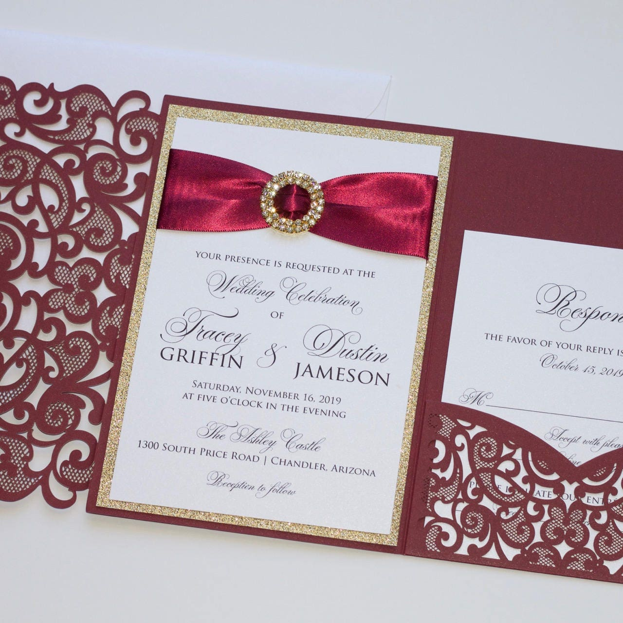 Elegant Glitter Wedding Invitation Laser Cut Invitation