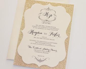Hayden Die-cut Frame Glitter Wedding Invitation - Elegant Wedding Invitation - Custom Stationery - Ivory, Champagne, Gold Glitter - Sample