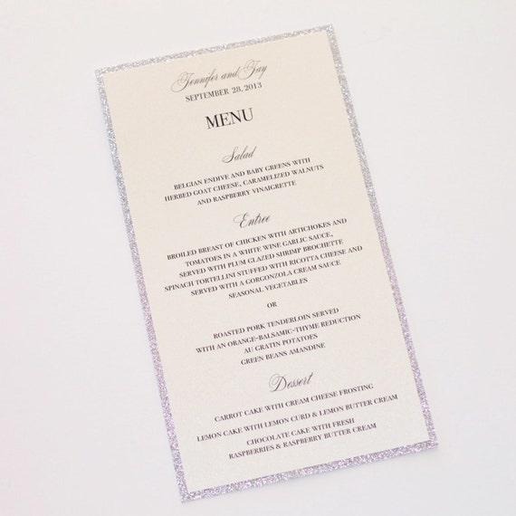 Jennifer Glitter Menu Cards Wedding Menus Elegant Menu Cards Wedding Reception Stationery Silver Glitter Ivory Sample