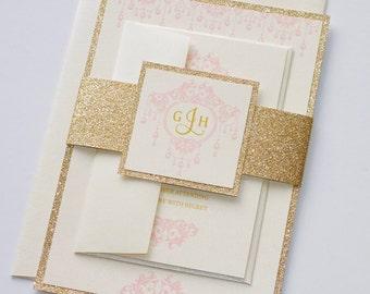 Gemma Glitter Wedding Invitation, Elegant Wedding Invitation, Vintage Glam Wedding, Monogram Invitation, Blush Pink, Gold Glitter - Sample