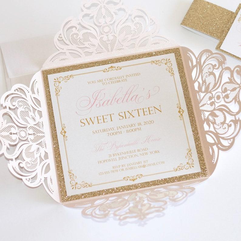 Blush And Gold Sweet 16 Invitations Laser Cut Glitter Etsy