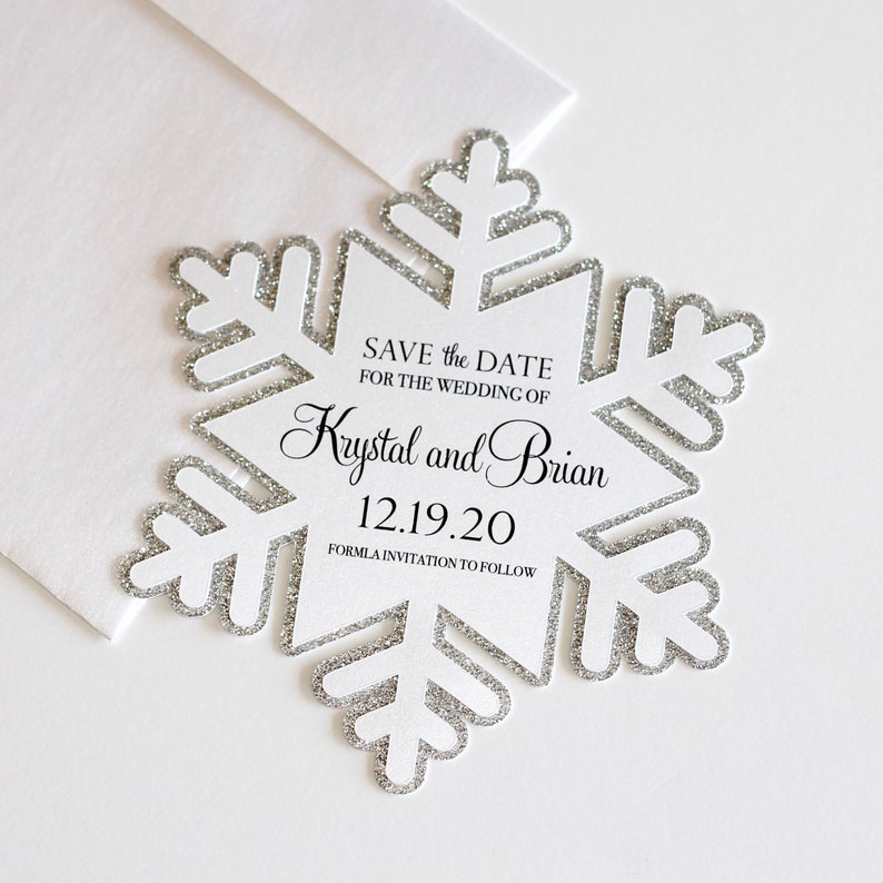 7e16a3bd3a1 Snowflake Save the Date card Winter Wedding Save the Date