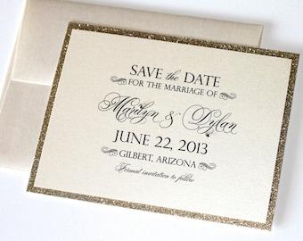 Marilyn Glitter Wedding Save the Date card - Couture Save the Date - Glitter Save the Date - Gold Glitter - Marilyn Sample
