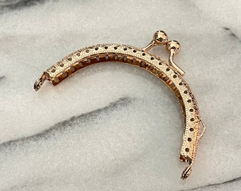 """Sale Item 8.5cm (3 3/8"""")  Light Rose Gold Sew-In Purse Frame with Standard Ball Clasp - Free Shipping (PURSE FRAME FRM-164-Rose)"""