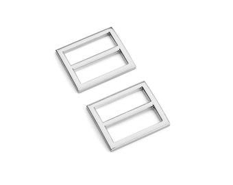 "1"" (25mm) Flat Diecast Slide Buckle - Nickel - (FBK-108) - Free Shipping"