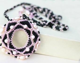 Statement Beadweaving Neckalce  Pendant   Pink Black Jewelry  Romantic gift