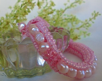 Crystal Beaded Pink Bracelet Unique Jewelry Mother of Pearl