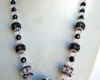 Swarovski Crystals Pearls Pink Black  Necklace Beadwoven Beaded Beadweaving Unique Jewelry Drama Queen