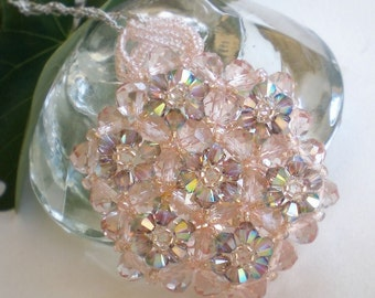 Crystal  Necklace Pendant Jewelry Patel Pink Green Beaded Beadwoven Beadweaving