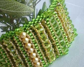 Crystal Beadwoven Green Bracelet Unique Jewelry Rosemary Flowerbed