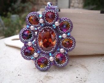 Crystal Beadwoven Rivoli Flower Necklace Unique Jewelry Autumn Flower