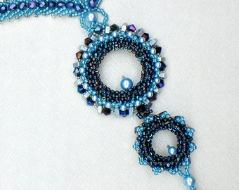 Neckalce Black Blue Silver  Beadwoven  Beaded Beadwork Industrial Style Nut Screw