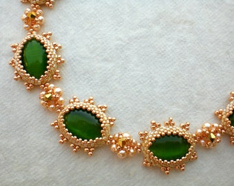 Cat's Eye Bracelet  in Green Gold and Pink Jewelry Romantic Gift