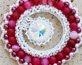 Crystal Statement Necklace  Pink Red White Jewelry  Romantic gift  Pavlova