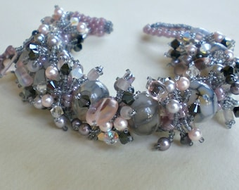 Agate Beaded Bracelet   in Grey and Pink Unique Jewelry  Romantic Gift