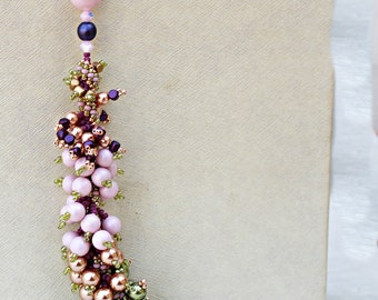 Statement  Crystal  Pearls Necklace  Pink Green Gold  Jewelry  Romantic gift
