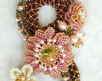 Crystal Statement Necklace  Pink Bronze Gold Retro Jewelry  Romantic gift Snake in the Garden