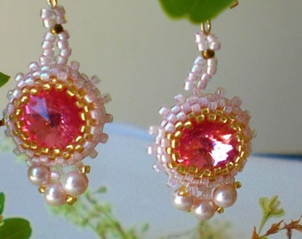 Rivoli Beadwoven Pink Dangle Earrings  Unique Beaded Beadwork Beadweaving Jewelry