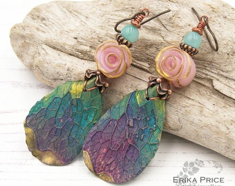 Forest Leaf Earrings, Chameleon Plant, Unique Wearable Art Gift for Her, UK Handcrafted Boho Jewellery, OOAK One of a Kind Erika Price