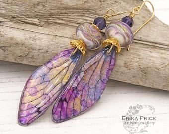 Purple Shimmer Wing Earrings, Artisan Lampwork Resin & Gold Vermeil, OOAK One of a Kind, UK Handcrafted Wearable Art Jewellery, Erika Price