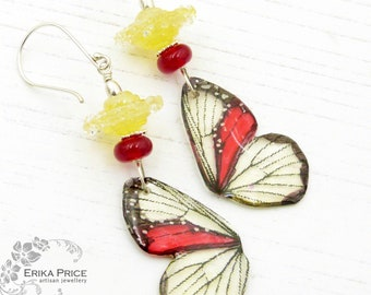 Drifting Butterflies Sterling Silver Lampwork & Resin Wing Earrings, Lemon Yellow Red Handcrafted Unique Wearable Art Jewellery Gift for Her