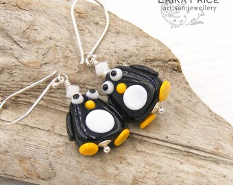 Cute Penguins Earrings, Black White Birds, Handcrafted Sterling SilverJewellery, Limited Edition Christmas Gift Stocking Filler, Erika Price