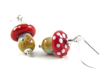 Magic Mushroom Earrings, Handcrafted Wearable Art Jewellery, Red Fly Agaric Toadstools Sterling Silver, Nature Inspired Gift, Erika Price UK