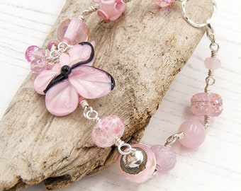 Pastel Pink Butterfly Bracelet, Lampwork Glass & Sterling Silver, UK Handcrafted, One of a Kind Wearable Art Jewellery, Erika Price SRAJD