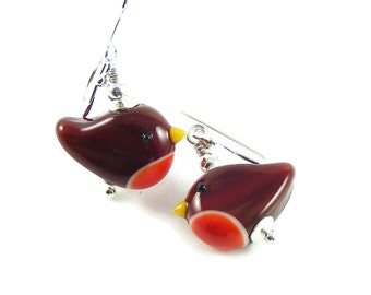 Robin Redbreast Earrings, Handcrafted Lampwork Glass & Sterling Silver, Red Bird Nature Jewellery, Christmas Gift, UK Handmade, Erika Price