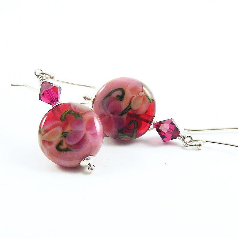 Raspberry Ice Cream Earrings Rose Pink Lampwork Glass & image 0