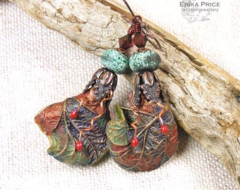 Autumn Leaf Earrings, Winter Fall Colours Unique Wearable Art Gift for Her, UK Handcrafted Artisan Jewellery, OOAK One of a Kind Erika Price