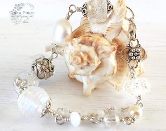 Winter Wonderland Bracelet, Lampwork Glass & Sterling Silver, UK Handcrafted, One of a Kind Wearable Art Jewellery, Erika Price SRAJD