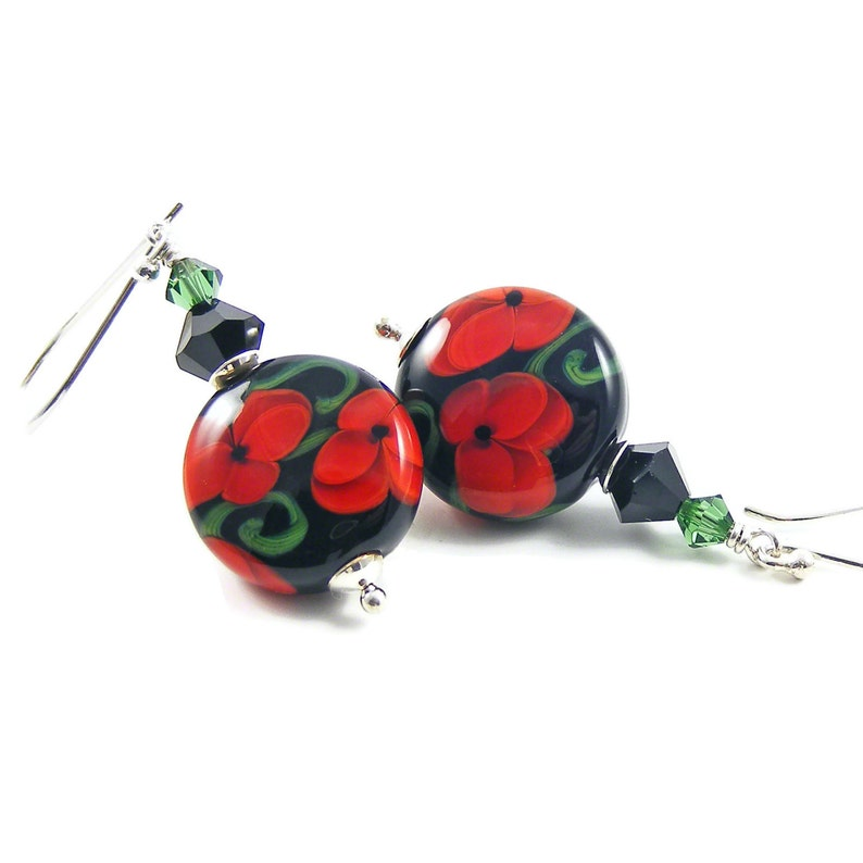 Red Poppies Sterling Silver Earrings Handcrafted Lampwork image 0