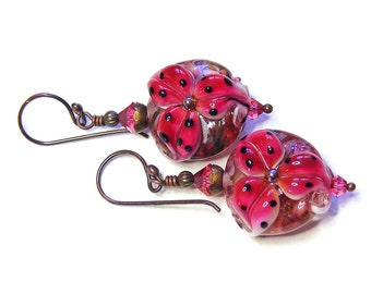 Deep Rose Pink Tiger Lily Earrings, Handcrafted Lampwork Glass, OOAK (One of a Kind) Floral Jewellery