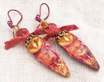 Rustic Red Orange Barred Owl Earrings, OOAK (One of a Kind), UK Handcrafted, Unique Contemporary Boho Wearable Art Jewellery Erika Price