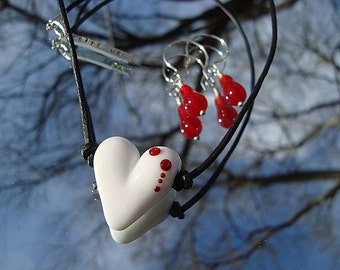 Handmade Bite Me Heart Necklace and Earrings Set