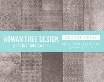 GRUNGE METAL Digital Papers 12x12in 10 Papers Grunge Industrial Backgrounds - no. 0036