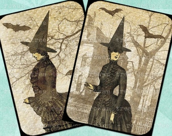 Digital Collage Sheet VICTORIAN WITCHES Halloween 2.5x3.5in Printable Download - no. 0014