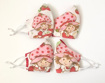 Strawberry Shortcake Face Mask - Made w/Vintage Strawberry Shortcake Sheets - 80s Mask - Adjustable Elastic Ear Loops